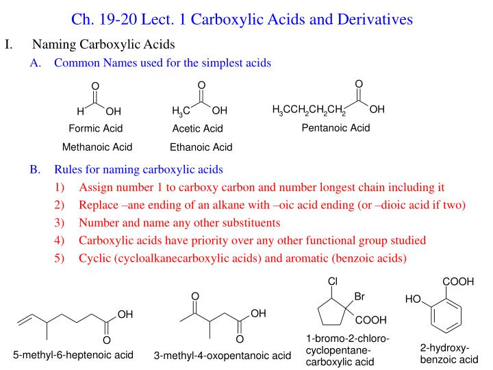 ch 19 20 lect 1 carboxylic acids and derivatives n.