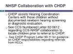 nhsp collaboration with chdp