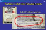 fertilizer label lists potential acidity