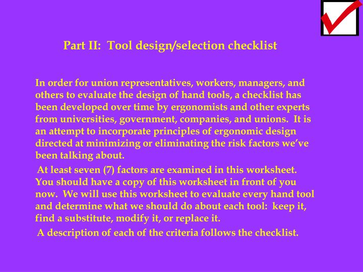 Part II:  Tool design/selection checklist