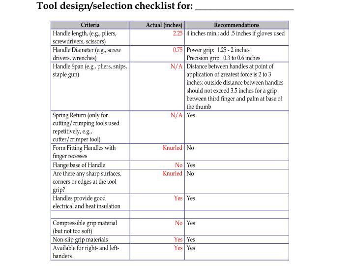Tool design/selection checklist for: ____________________