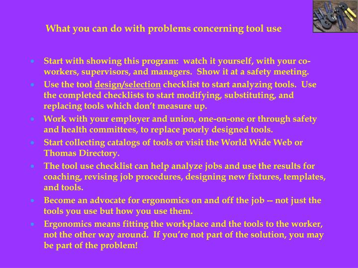 What you can do with problems concerning tool use