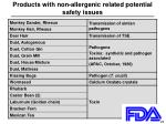 products with non allergenic related potential safety issues