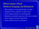 observations about medical imaging and radiation