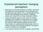 experienced teachers changing perceptions