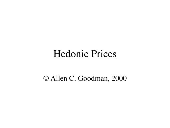 hedonic prices n.