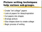 picture writing techniques help various sub groups