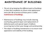 maintenance of buildings