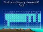 finalization vacancy allotment 55 gen