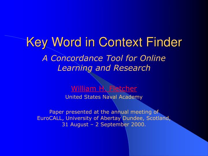 key word in context finder n.