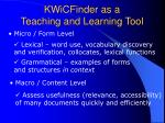 kwicfinder as a teaching and learning tool