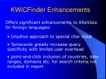 kwicfinder enhancements