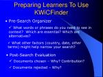 preparing learners to use kwicfinder
