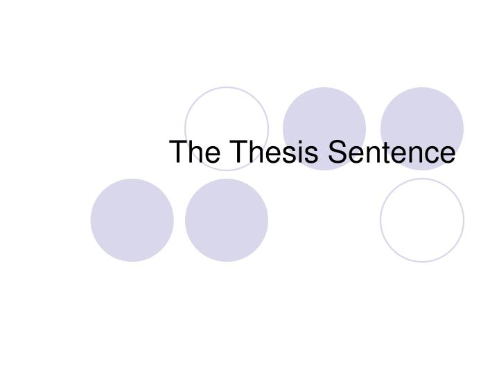 the thesis sentence n.
