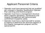 applicant personnel criteria