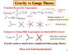gravity vs gauge theory