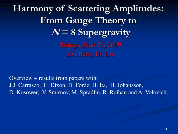 harmony of scattering amplitudes from gauge theory to n 8 supergravity n.
