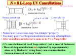 n 8 l loop uv cancellations