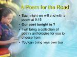 a poem for the road