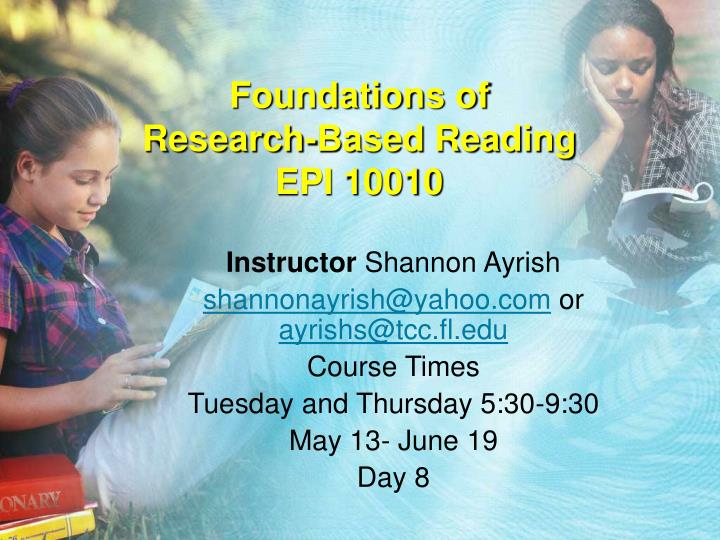 foundations of research based reading epi 10010 n.