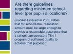 are there guidelines regarding minimum school level per pupil allocations