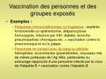 vaccination des personnes et des groupes expos s2