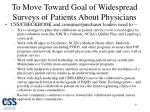 to move toward goal of widespread surveys of patients about physicians