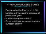hypercoagulable states prothrombin g20210 a