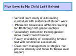 five keys to no child left behind