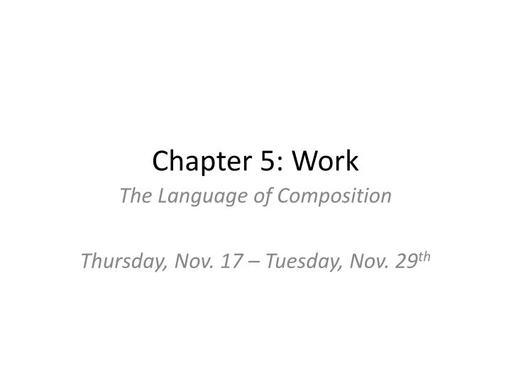 chapter 5 work n.
