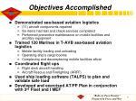 objectives accomplished