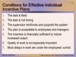 conditions for effective individual incentive plans