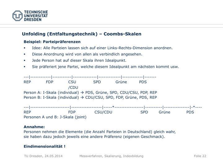 Unfolding (Entfaltungstechnik) – Coombs-Skalen