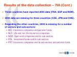 results of the data collection 7ia cont