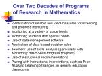 over two decades of programs of research in mathematics