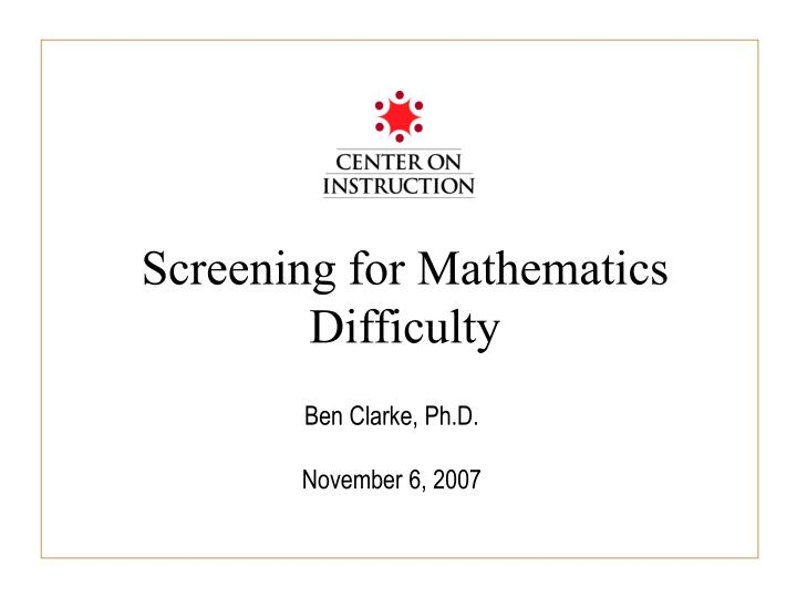 screening for mathematics difficulty n.