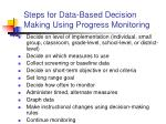 steps for data based decision making using progress monitoring