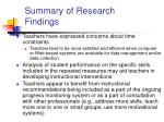 summary of research findings1