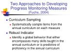 two approaches to developing progress monitoring measures fuchs 2004