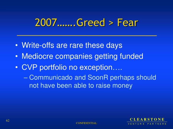 2007…….Greed > Fear