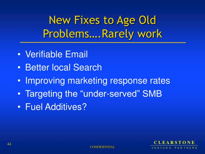 New Fixes to Age Old Problems….Rarely work