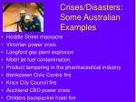 crises disasters some australian examples