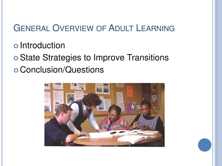 General Overview of Adult Learning