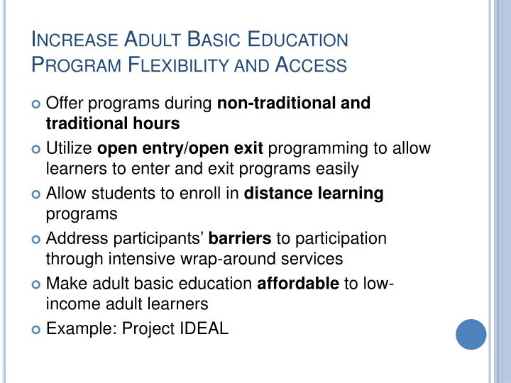Increase Adult Basic Education Program Flexibility and Access