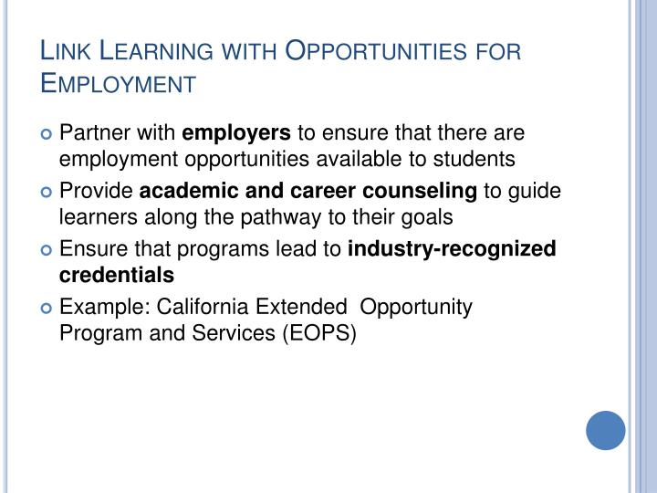 Link Learning with Opportunities for Employment