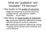 what are qualitative and equitable fs services