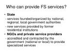 who can provide fs services