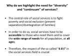 why do we highlight the need for diversity and continuum of services