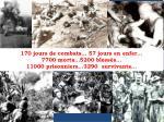 170 jours de combats 57 jours en enfer 7700 morts 5200 bless s 11000 prisonniers 3290 survivants