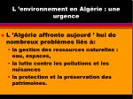 l environnement en alg rie une urgence